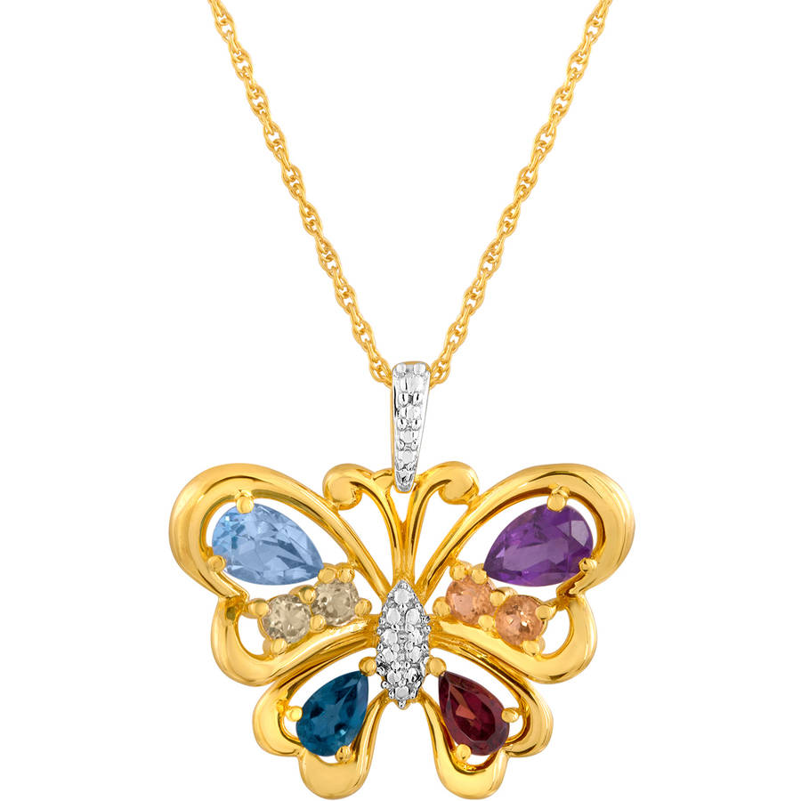 Multi-Gemstone Sterling Silver Butterfly Pendant, 18""