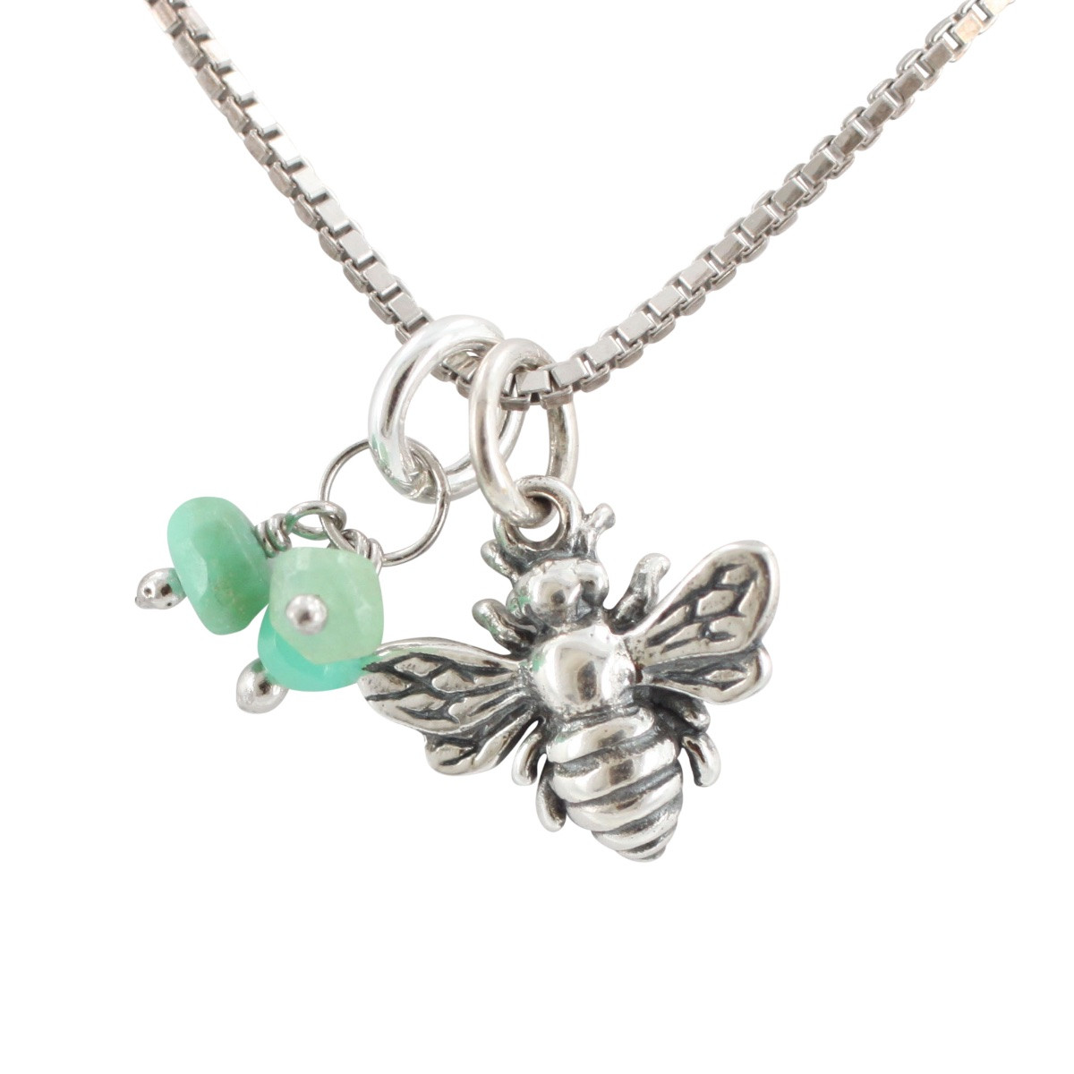 Tiny Honeybee Charm Necklace with Chrysoprase Gemstones, #6707S by