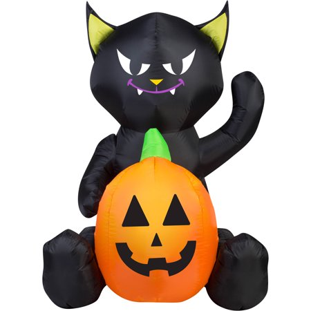 Gemmy Airblown Inflatable 4' X 3' Cat Pumpkin Duo Halloween Decoration (Halloween Airblown Inflatables)