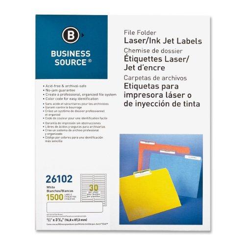"Business Source Laser/Inkjet File Folder Labels - Permanent Adhesive - 0.66"" Width x 3.43"" Length - 30 / Sheet - Rectangle - Laser, Inkjet - White - Paper - 50 Sheet"