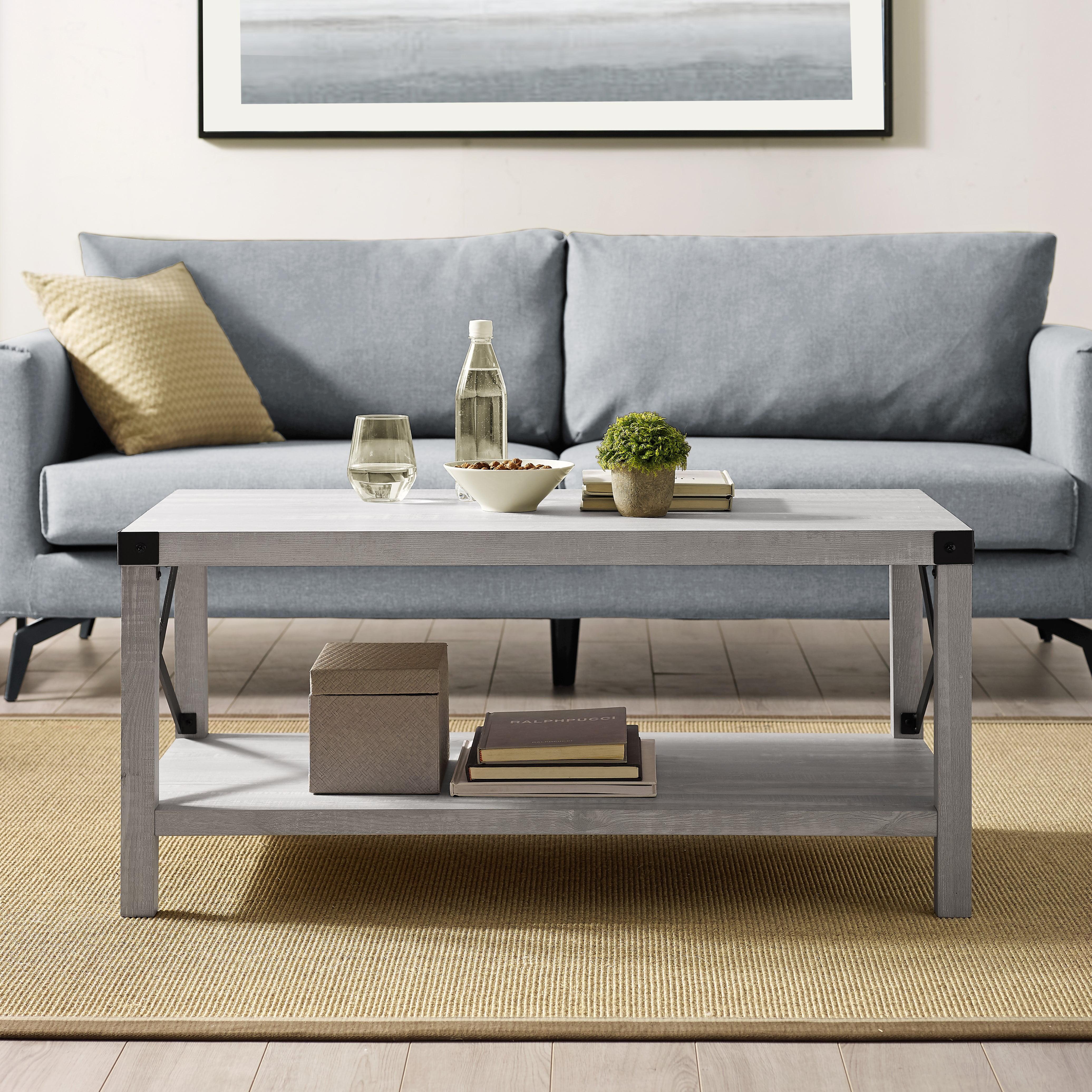 Magnolia Metal X Frame Stone Grey Coffee Table By Desert Fields Walmart Com Walmart Com