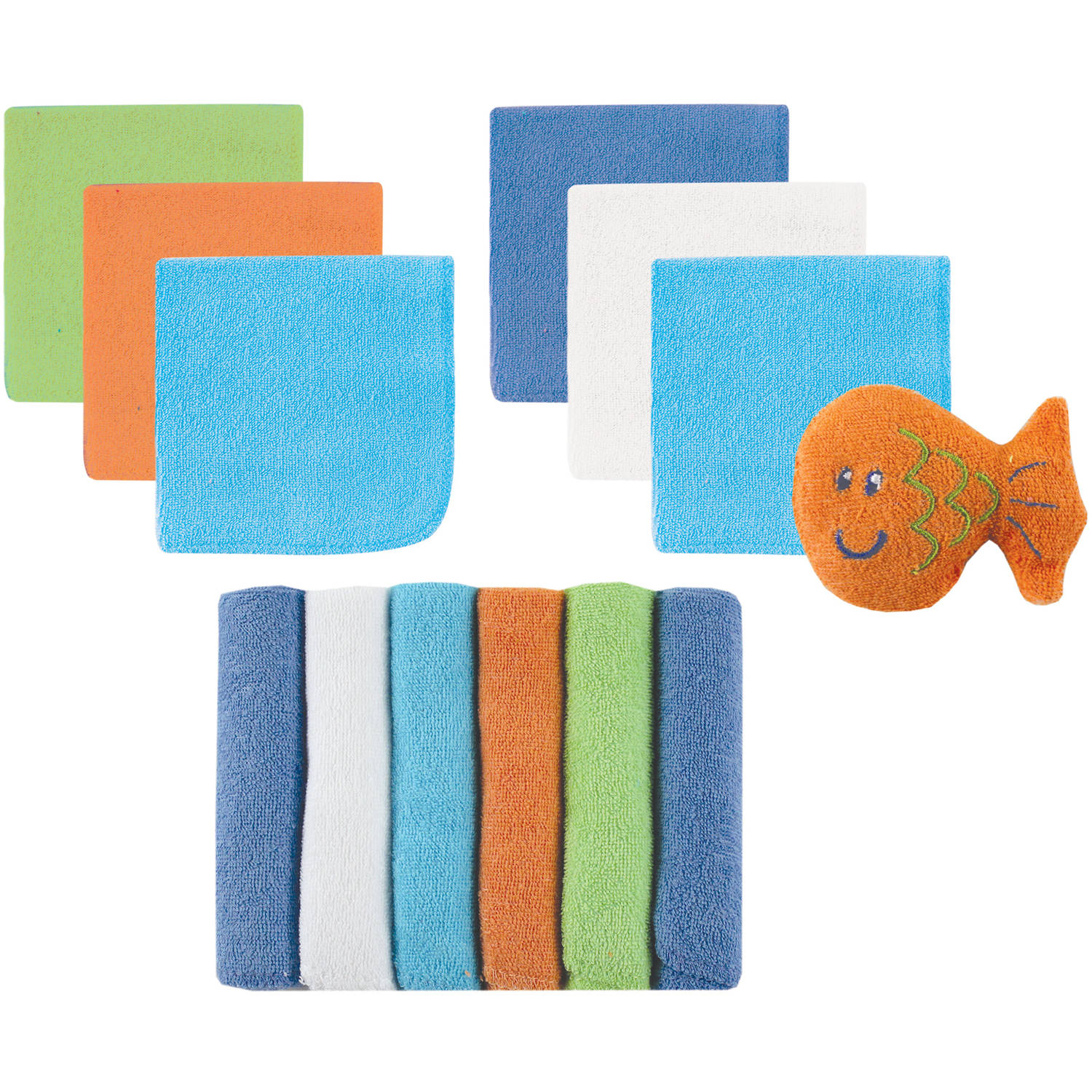 Luvable Friends Baby Washcloths, Blue, 12 Pack with Bath Toy