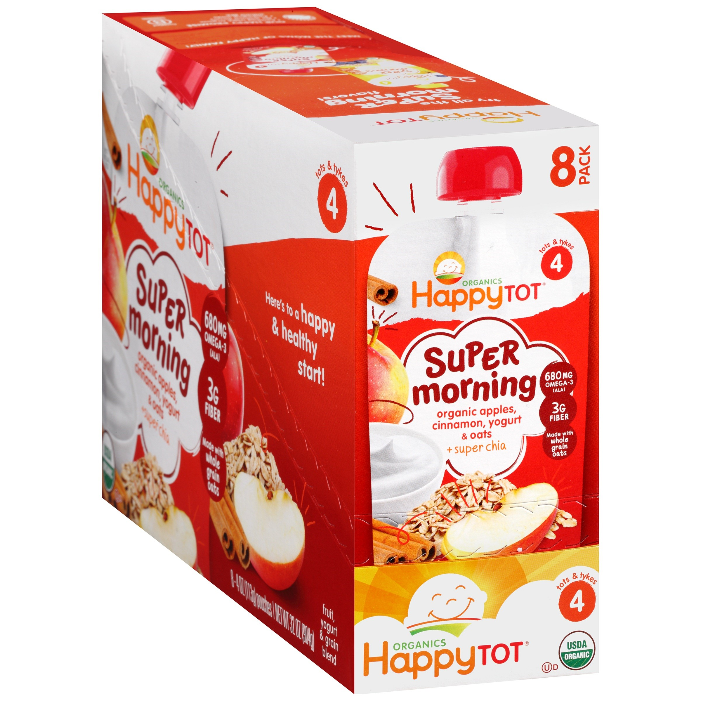 Happy Baby Morning Apple Cinnamon Yogurt & Oats, 4 Ounce Pouch