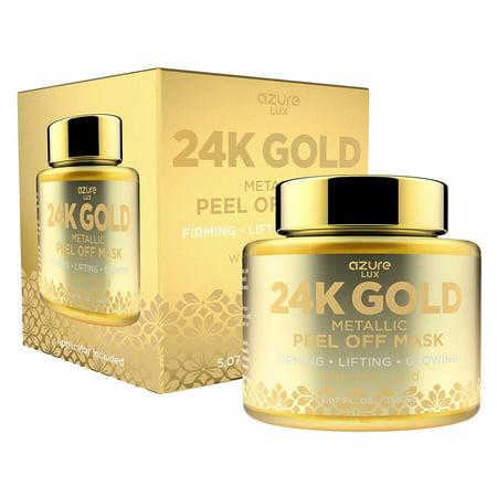 AZURE 24K Gold Metallic Firming Peel Off Face Mask - Exfoliates Blackheads, Dirt & Oils   Firms & Moisturizes   Reduces Wrinkles, Fine Lines & Acne Scar   -150mL