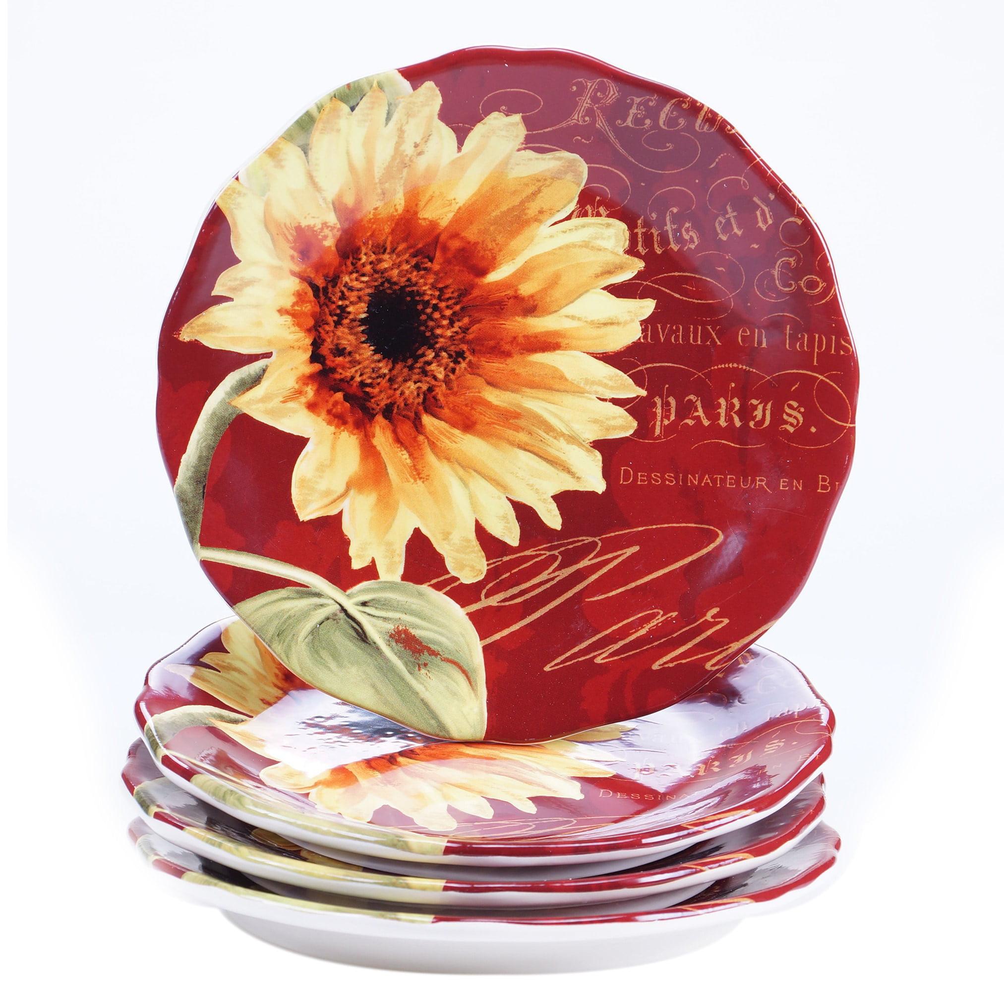 8.75 Certified International Paris Sunflower Salad//Dessert Plates Multicolor 8.75 25281SET//4 Set of 4