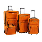 Rockland  Deluxe Orange 4-piece Expandable Rolling Upright Luggage Set