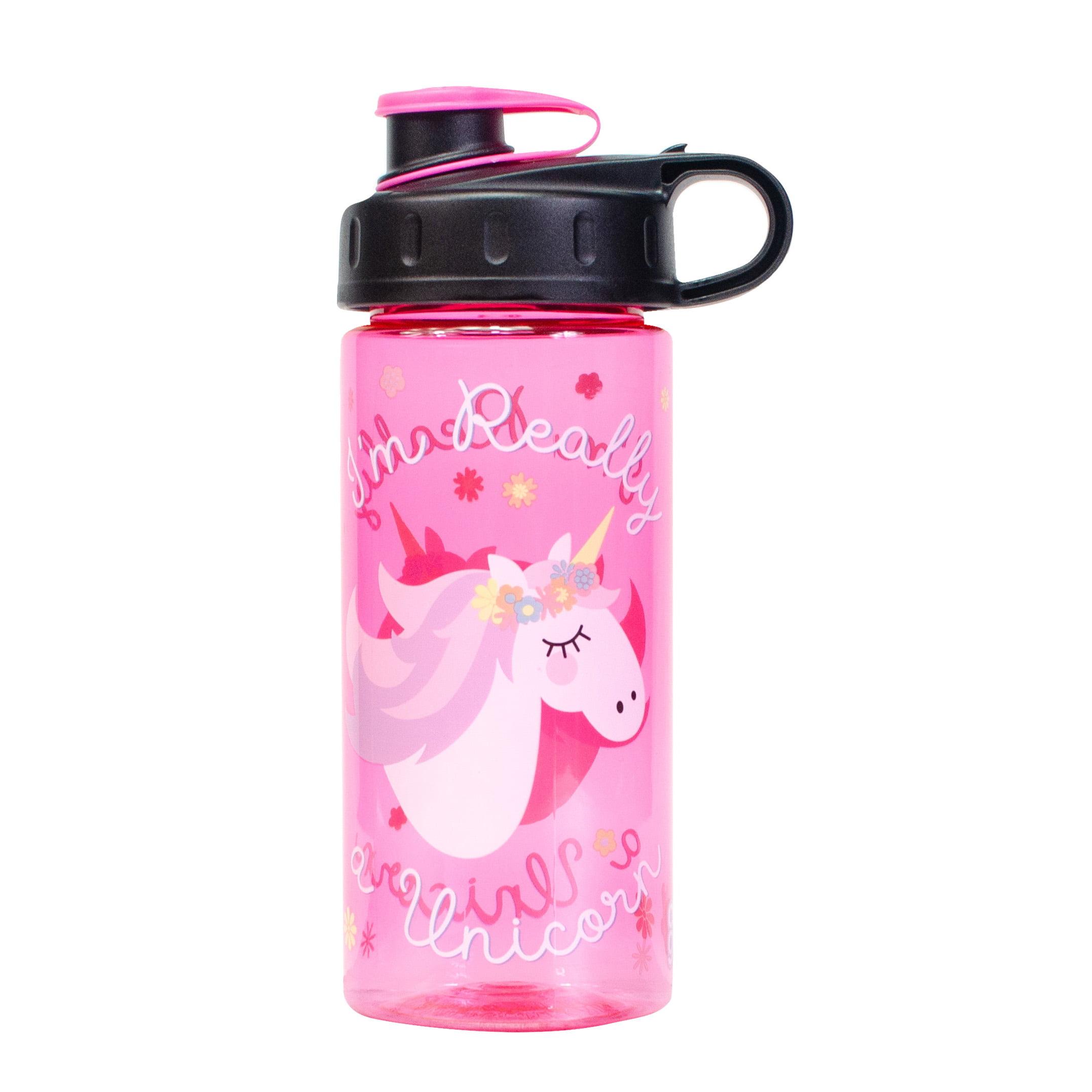 Cool Gear Im Really a Unicorn Pink Girls Plastic Water Bottle 16 oz BPA FREE