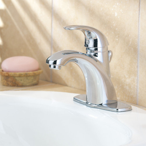 Pfister Parisa Single Handle Single Hole Standard bathroom faucet with Flex-Line Supply Lines and Metal Pop-Up Assembly