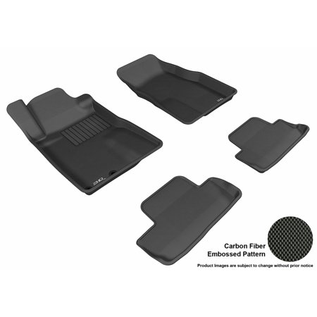 3D MAXpider 2005-2009 Ford Mustang Front & Second Row Set All Weather Floor Liners in Black with Carbon Fiber Look