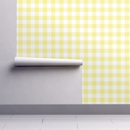 Removable Water-Activated Wallpaper Yellow Gingham Plaid Yellow Gingham Gingham](Yellow Gingham)