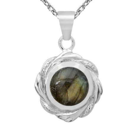 Orchid Jewelry Sterling Silver 6.00 Carat Labradorite Pendant Necklace