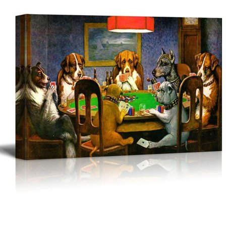 (Wall26 Pokers Dogs (or Dogs Playing Cards) by C. M. Coolidge - Canvas Print Wall Art Famous Painting Reproduction - 12