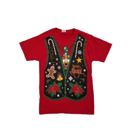 Mens Christmas Vests - Mens Red Ugly Christmas Vest Noel Christmas Holiday T-Shirt Small