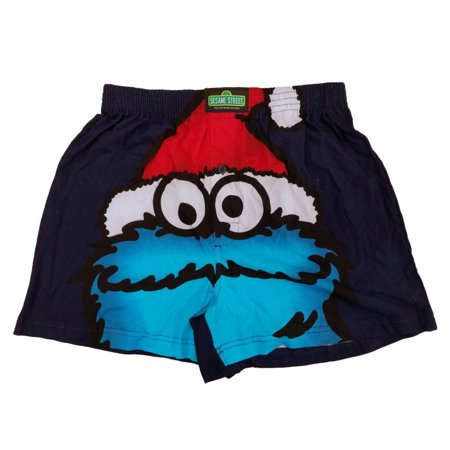 Sesame Street Mens Cookie Monster Santa Christmas Holiday Boxer Shorts (Santa Shorts)
