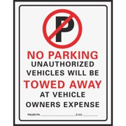 """no Parking"" Sign, Red/black Plastic, 19 X 15"", Hy-Ko, 702"