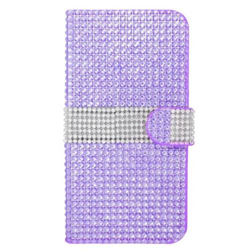 Insten Leather Wallet Diamond Case with Card slot For iPhone 6s Plus / 6 Plus - Purple/Silver