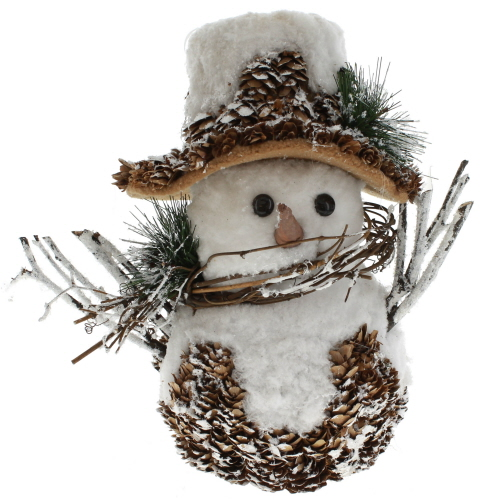 Snowman in Pinecone Hat