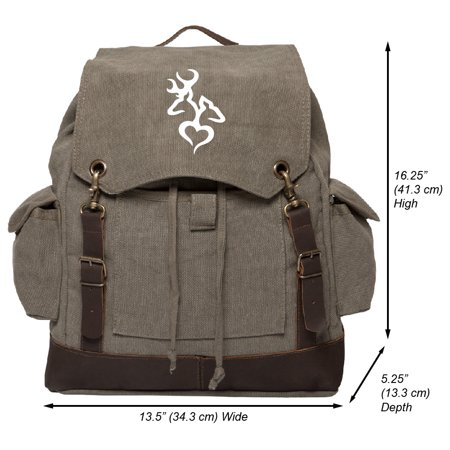 Browning Deer Heart Hunting Vintage Canvas Rucksack Backpack with Leather