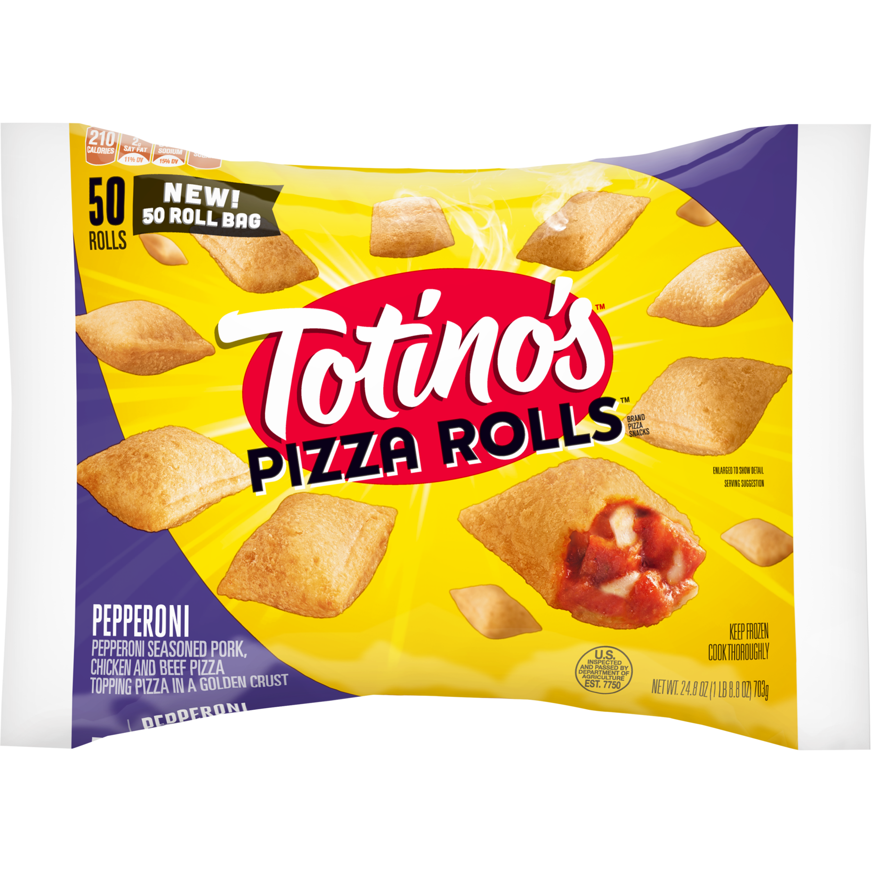 Totino S Pizza Rolls Pepperoni 50 Rolls 24 8 Oz Bag Walmart Com Walmart Com