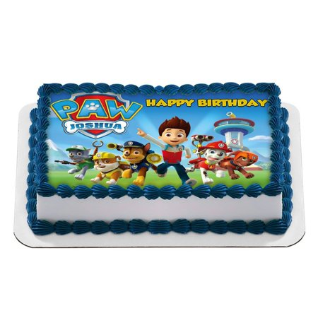 Paw Patrol Quarter Sheet Edible Photo Birthday Cake Topper Personalized 1 4 Sheetnbsp