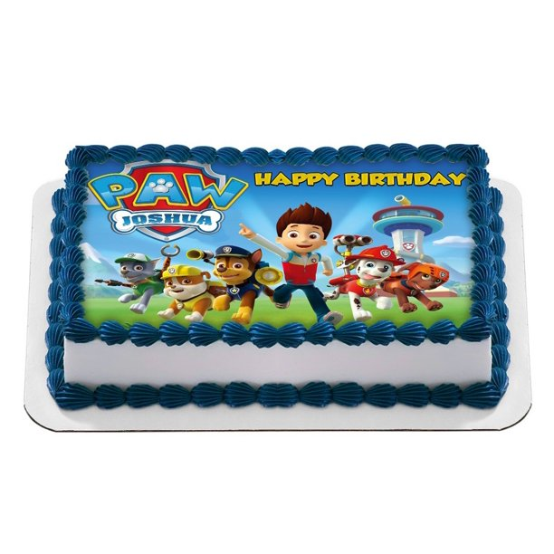 Surprising Paw Patrol Quarter Sheet Edible Photo Birthday Cake Topper Personalised Birthday Cards Paralily Jamesorg