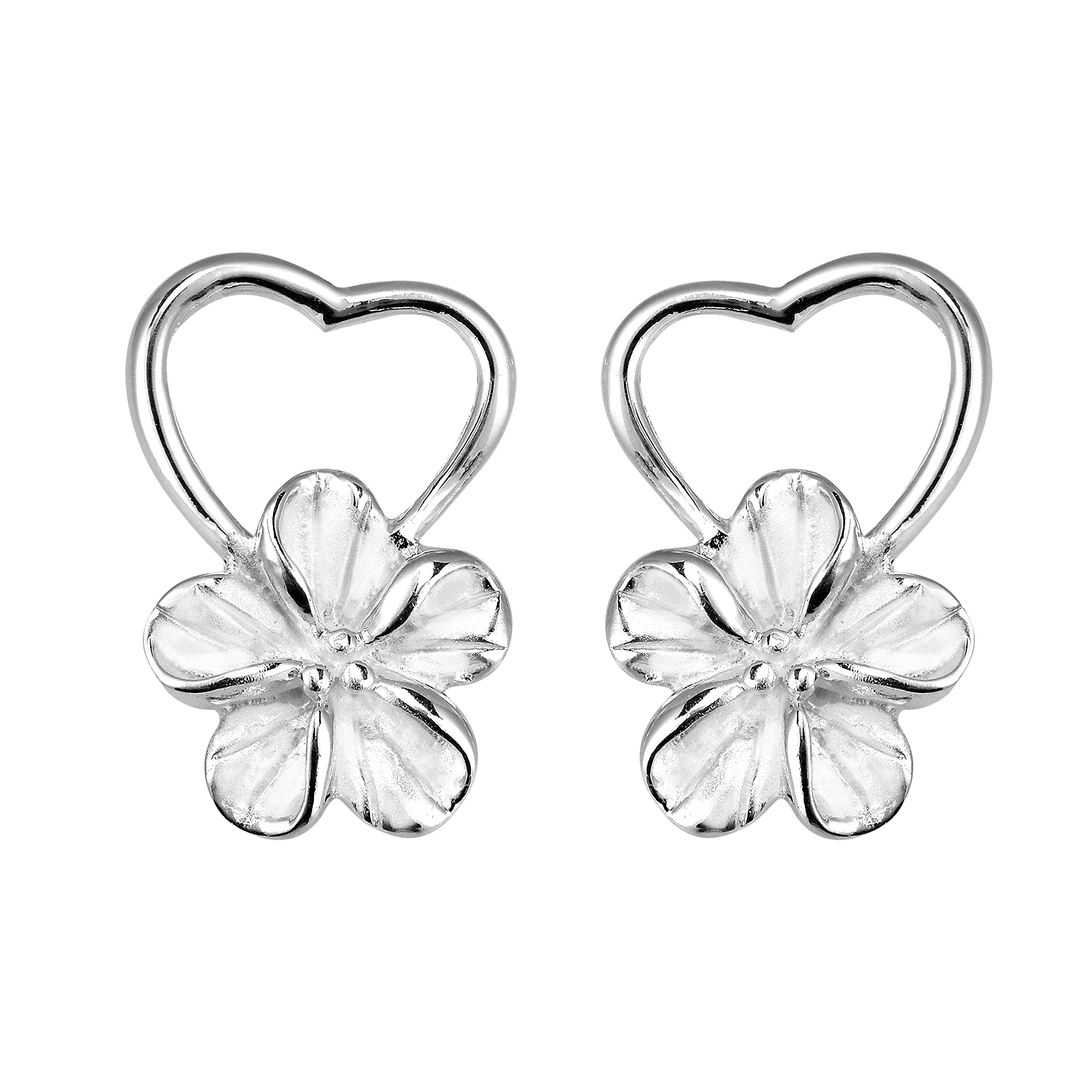 Pure Heart Hawaiian Plumeria Flower .925 Sterling Silver Post Earrings