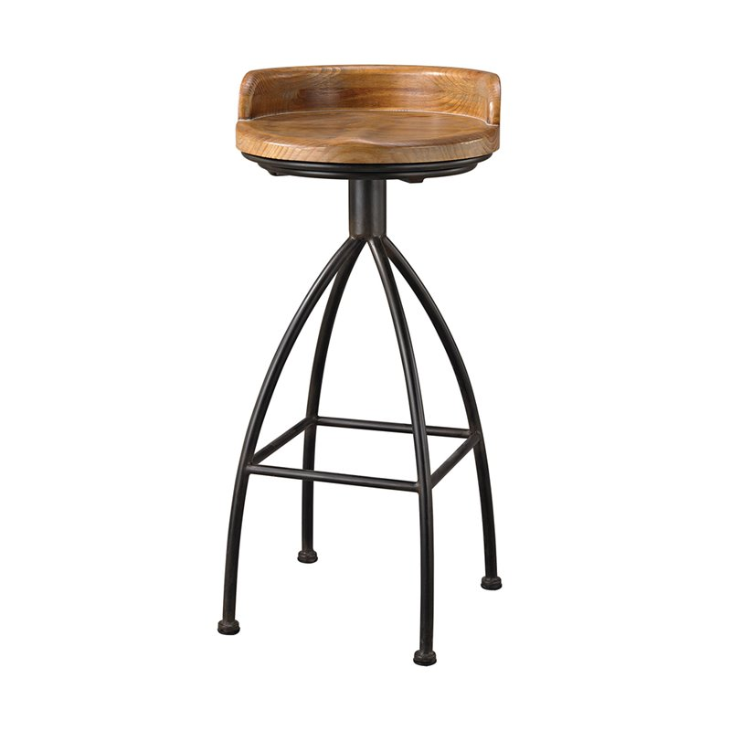 """""""Sterling District 34"""""""" Bar Stool in Warm Oak and Black"""""""