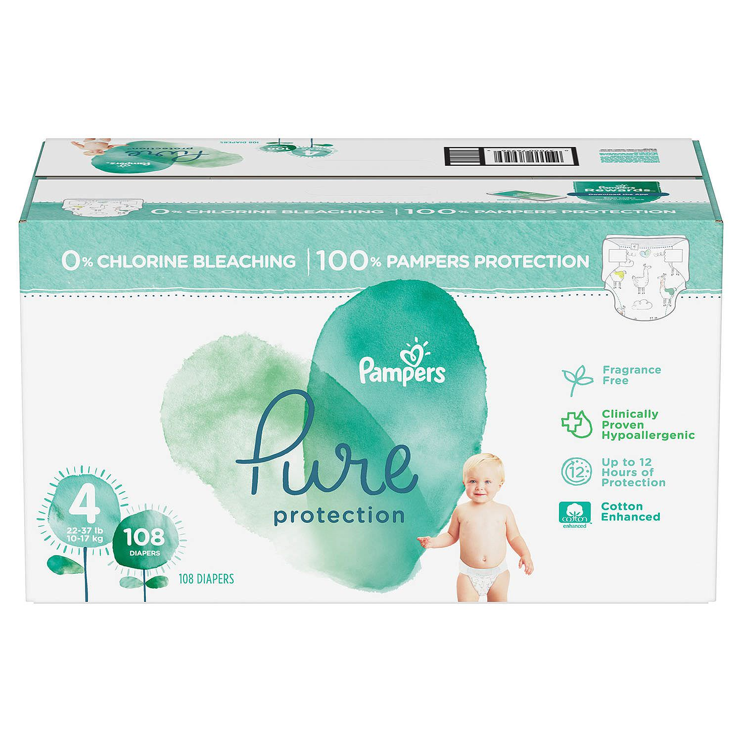 Pampers Pure Protection Diapers Size 4 - 108ct ( 22-37 lbs)