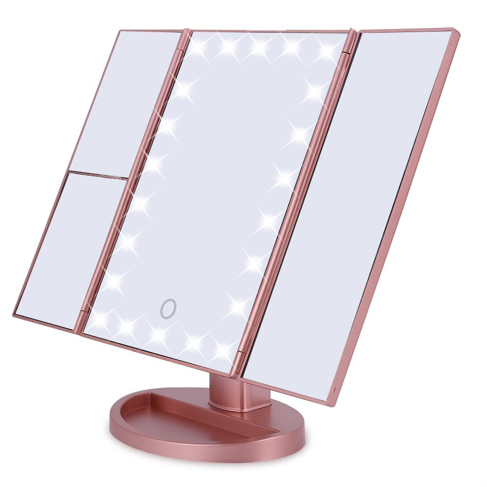 22 LED Lights 10X Magnification Mirror Tri-Fold Magnification Touch Screen Desktop Makeup Mirror (Rose Red)