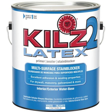 KILZ 2 White Water-Based Latex Interior/Exterior Multi-Surface Primer, Sealer and Stainblocker - Low VOC Formula