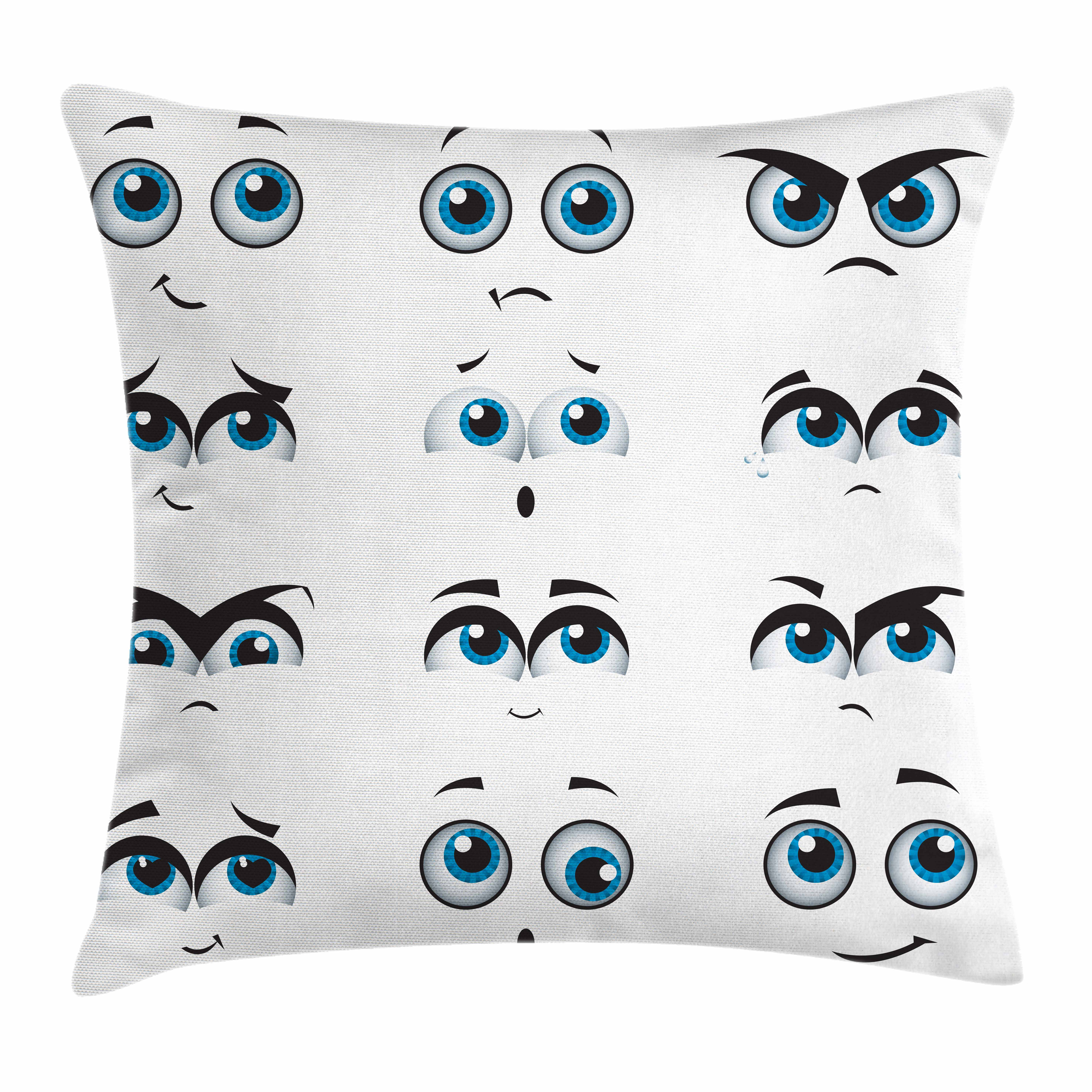 Eye Throw Pillow Cushion Cover, Silly Comic Faces with Various Expressions Humorous Design for Kids and Children, Decorative Square Accent Pillow Case, 16 X 16 Inches, Blue Black White, by Ambesonne