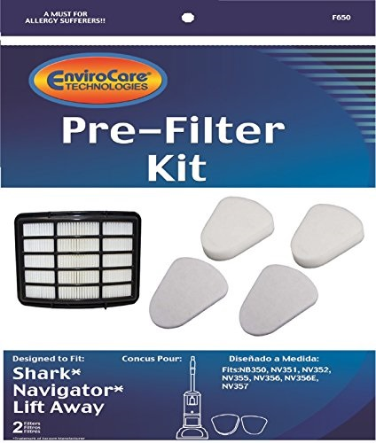NV356E 2 Foam and 2 Felt Filters NV351 + 1 Hepa Filter NV356 NV355 NV357 Pre-Filter Kits EnviroCare Replacement Vacuum Filters for Shark Navigator Lift-Away NV350 NV352