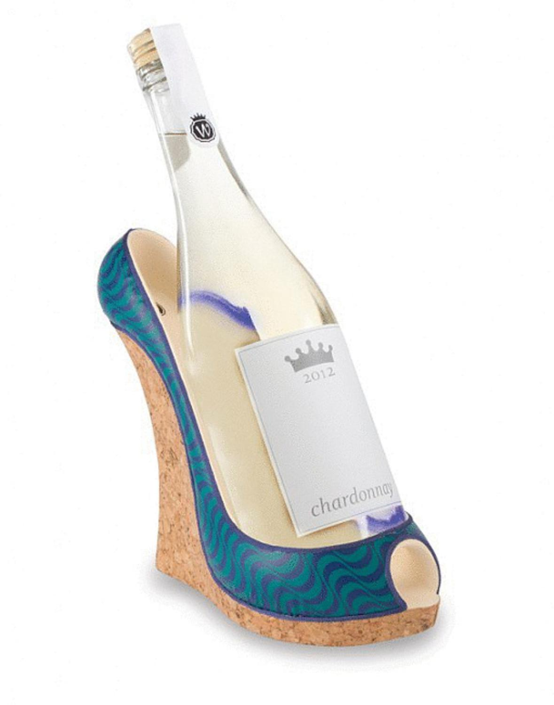 "9"" Fashion Avenue Women's Decorative Blue Wave Wedge Shoe Wine Bottle Holder by Fashion Avenue"
