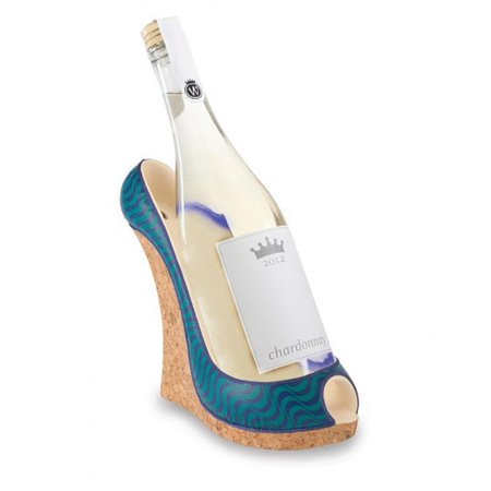 "Image of 9"" Fashion Avenue Women's Decorative Blue Wave Wedge Shoe Wine Bottle Holder"