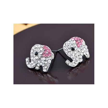 Silver Colored Pink Saddle Elephant Baby Crystal Rhinestone Element (Silver Pink Rhinestone Earrings)