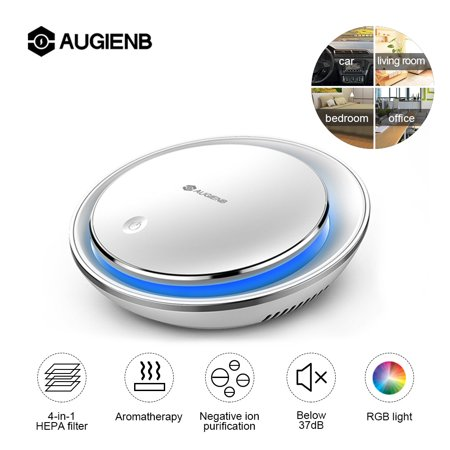 AUGIENB Car Air Purifier HEPA Filter Negative Ion Aromatherapy RGB Night Light Silent Smoke Odors Dust Bacteria Pollen (Best Pollen Filter For Car)