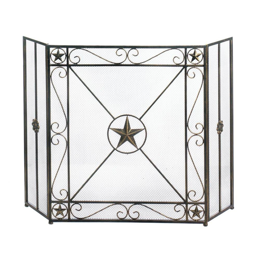 Fireplace Screens Decorative Iron Western Star Rustic Fireplace