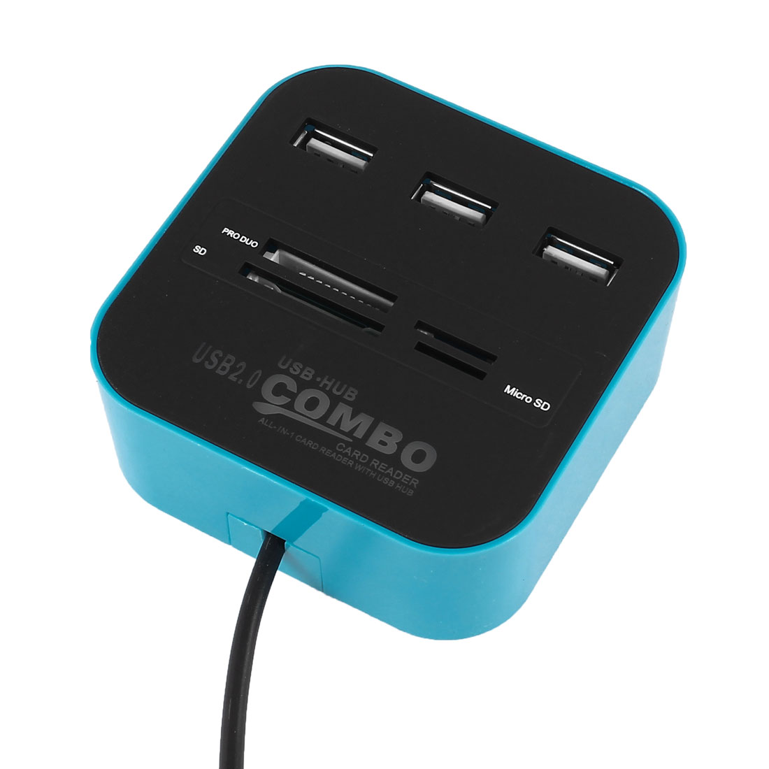 Unique Bargains 3 Port Powered USB 2.0 Hub Expander + Multi Memory Card Reader Combo