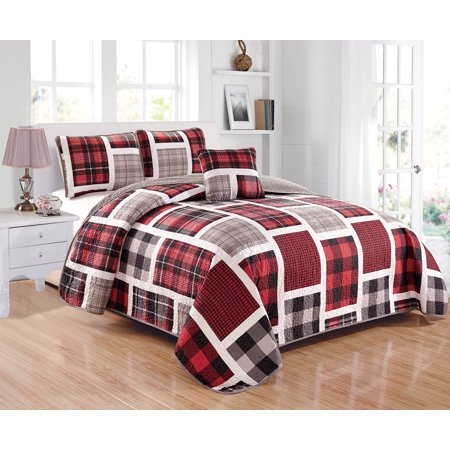 Reversible Block (Fancy Linen 4pc Full/Queen Size Reversible Quilted Bedspread Plaid Red Gray White Black New )