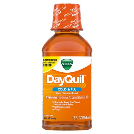 Vicks DayQuil, Non-Drowsy, Daytime Cold & Flu Medicine, Relieves Aches, Headache, Fever, Sore Throat, Congestion, Sneezing, Runny Nose, Cough 12 Fl (Dayquil Liquid)