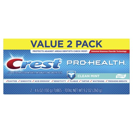 Paste Crest - Crest Pro-Health Smooth Formula Toothpaste, Clean Mint Paste, 4.6 oz, Pack of 2