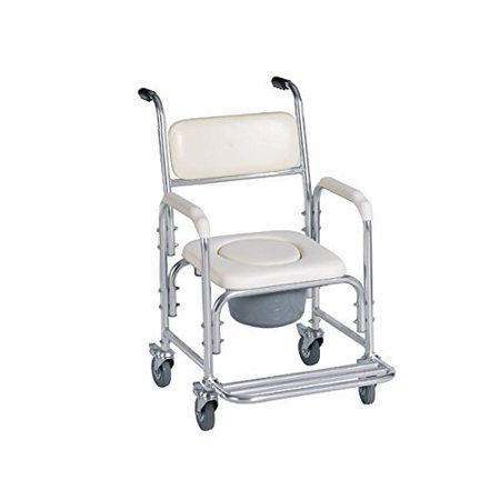 Shower Bedside Commode Chair Padded Seat With Wheels by Healthline ...