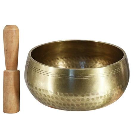 Tibetan Buddhist Singing Bowl Buddha Sound Bowl Musical Instrument for Meditation with Stick Yoga Home