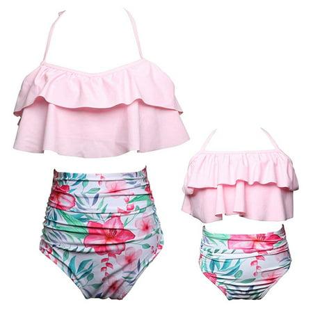ac72cf5ffd CHRONSTYLE - 2Pcs Mommy and Me Matching Family Swimsuit Ruffle Women  Swimwear Kids Children Toddler Bikini Bathing Suit Beachwear Sets -  Walmart.com