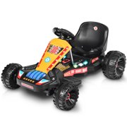 Goplus Electric Powered Go Kart Kids Ride On Car 4 Wheel Racer Buggy Toy Outdoor Black
