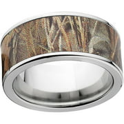 Max 4 Men's Camo 10mm Stainless Steel Wedding Band with Polished Edges and Deluxe Comfort Fit