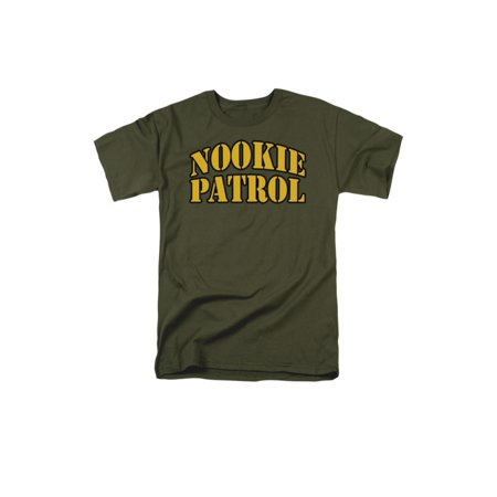 Nookie Patrol Army Stencil Text Funny Phrase Adult T-Shirt