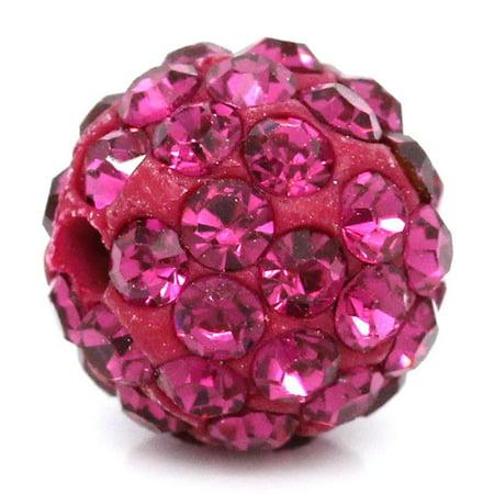 Sexy sparkles 5 Pcs Fuchsia Polymer Clay Ball Beads Pave Fuchsia Rhinestone 10mm 10 Mm Pave Ball