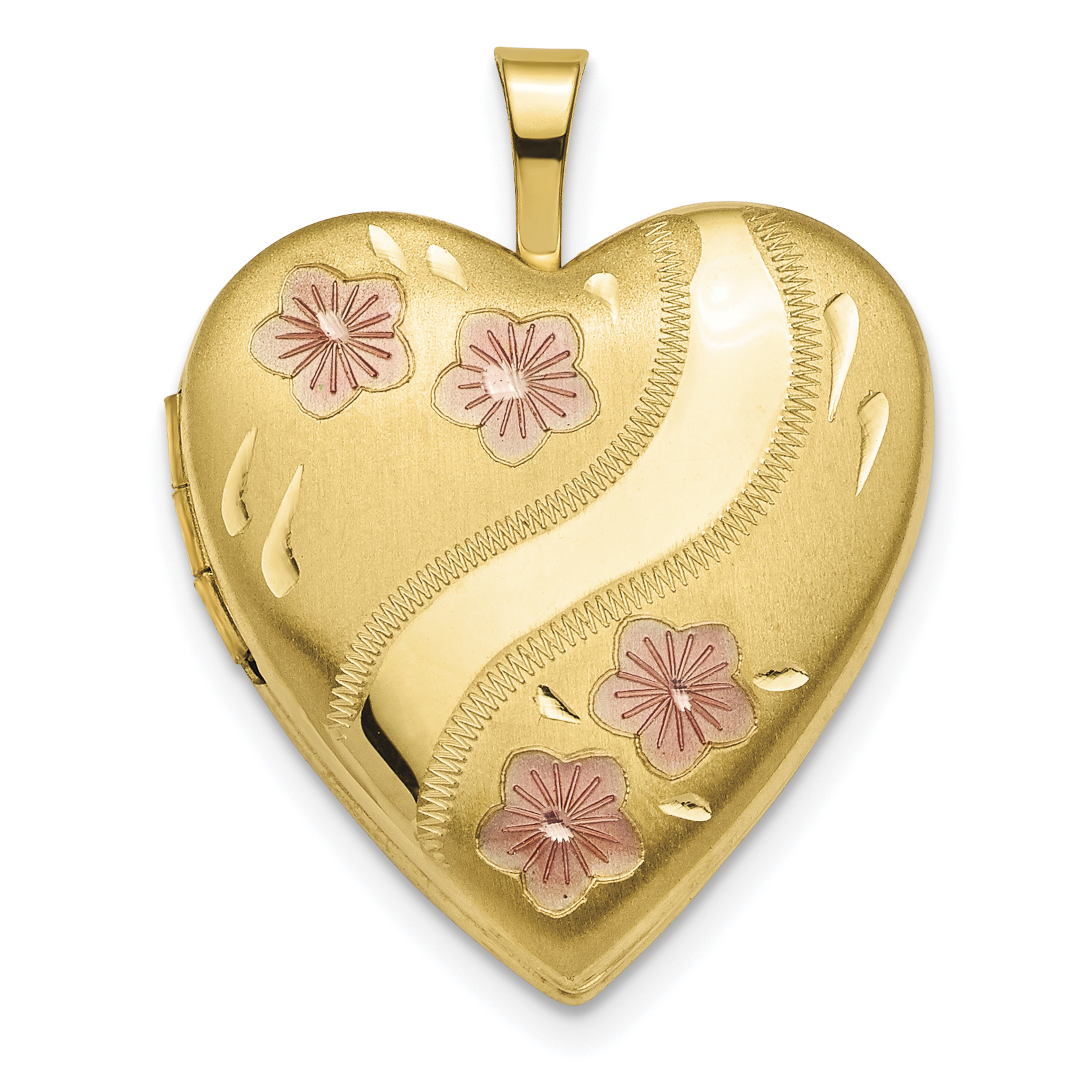 ICE CARATS 14kt Yellow Gold 20mm Pink Enameled Flowers Heart Photo Pendant Charm Locket Chain Necklace That Holds... by IceCarats Designer Jewelry Gift USA