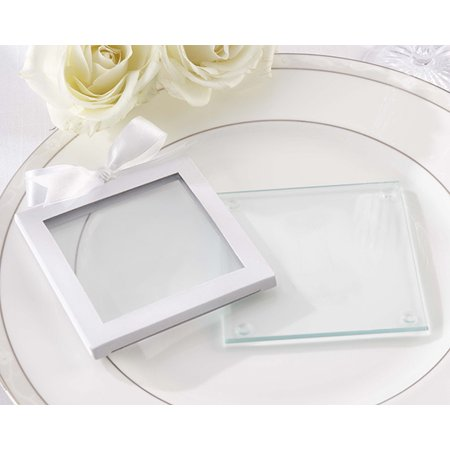 Gift Glass - White Glass Coaster Gift Sleeve (Set of 12)